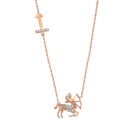 Rose Gold 925 Zodiac Necklace Sagittarius / いて座