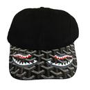 No Face No case/Custom BLACK Leather Brim Cap