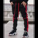 GUAPI/Track Pants BLACK  (red line)