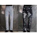 TAAKK : CONTRAST DENIM JACQUARD PANTS