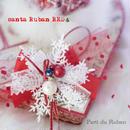 santa Ruban RED お帽子、マフラー、雪柄モチーフの3点セット