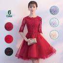 パーティードレス 結婚式 二次会 ワンピース 結婚式ドレス お呼ばれワンピース 20代 30代 40代 袖あり ミニ 黒 赤 レース 刺繍 花柄