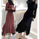 美ライン コットン素材が柔らかな着心地のアンバランス丈ワンピースドレス