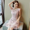 パーティードレス 結婚式 二次会 ワンピース 結婚式ドレス お呼ばれワンピース 20代 30代 40代  袖あり ショート ピンク レース 花柄