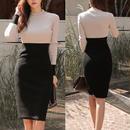 スタイルアップ バイカラータイトワンピースドレス