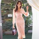 パーティードレス 結婚式 二次会 ワンピース 結婚式ドレス お呼ばれワンピース 20代 30代 40代 袖あり  ひざ下丈 ピンク シフォン