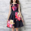 大きな花柄がゴージャスなノースリーブワンピースドレス