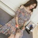 大人ガーリー ストラップ付きオフショル花柄フリルワンピースドレス