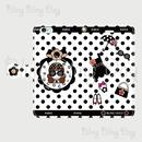 【TC003】手帳型スマホケース:カメリアおリボン枠 サングラスCOCOちゃん 白×黒ドット