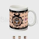 【MC002】マグカップ:黒おリボン枠 サングラスCOCOちゃん お花&ベージュ×黒おリボン