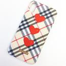【iPhone6plus/6Splus】チェック柄ハートケース