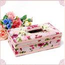 フラワーモチーフ付きバラ柄ティッシュボックスケース(ハードタイプ)淡いクリーム色の地にサーモンピンクのローズ柄  のコピー