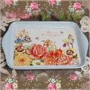 ■メラミントレイSサイズ コルティ ブルー 【薔薇雑貨 トレー お盆 花柄 ひまわり キッチン 花柄トレー 】