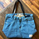 D&C COLOR DENIM TOTE BAG【NAVY/Leather】