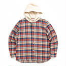 HOODED CHECK SHIRTS  / RED  / 13B19SH08SA
