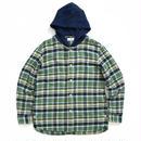 HOODED CHECK SHIRTS  / GREEN  / 13B19SH08SA