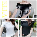 Off shoulder frill T-shirt /3color