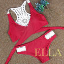 RED back lace bikini