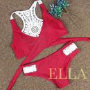 RED back lace bikini