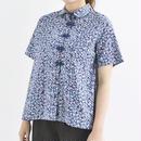 [1241tp]小花柄チャイナボタンシャツ