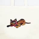 プリント刺繍 トートバッグ  泥棒猫[キャリコカラー]/ 山口 マナビ