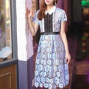Blue scallop long dress (No.300325)