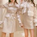 fur tweed dress coat (No.300540)