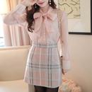 pink blouse & check skirt set-up(No.300571)
