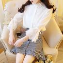 cotton blouse &  check skirt set-up(No.300367)