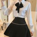 classic ribbon blouse & skirt set (No.300596)