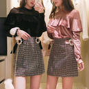 一部即納♡velour frill tops & tweed skirt set(No.300538)