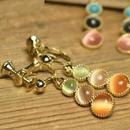 3連オーバルマルチカラー キャッツアイ イヤリング/ネックレスもあります(2color)