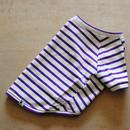 バスクボーダーシャツ(オフホワイト×パープル)