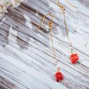 赤珊瑚と淡水パールのロングピアス