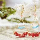 赤珊瑚と練トルコのシャンデリアピアス