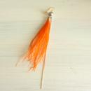 【片耳用】コットンパール×フェザーピアス:オレンジ