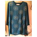 花刺繍布帛Tシャツ(グリーン)