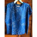 刺繍blueTシャツ(幾何学)
