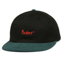 BUTTER GOODS 2-TONE BRUSHED 6 PANEL CAP     BLACK / FOREST
