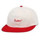 BUTTER GOODS2-TONE BRUSHED 6 PANEL CAP        NATURAL / RED