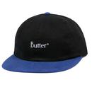 BUTTER GOODS 2-TONE BRUSHED 6 PANEL CAP     BLACK / ROYAL