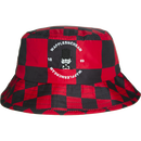 WAFFLESNCREAM CHECKERD BUCKET HAT BLACK/RED