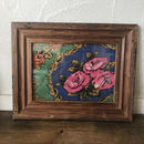 vintage fabric frame pink rose