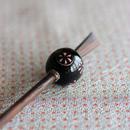 黒玉 花丸紋 蜻蛉玉簪