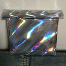 Mirror holographic rolled clutch bag