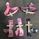 Tie dyed  silver cross bracelets