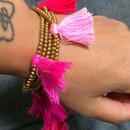 Brass beaded bracelet/anklet w tassels