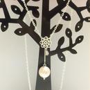 ☆sale☆お花から垂れ下がる大粒コットンパール&キュービックジルコニアのデザインチェーンネックレス
