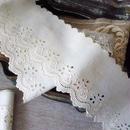 薔薇刺繍モチーフのコットンボーダー
