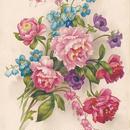 薔薇のブーケの新年のポストカード
